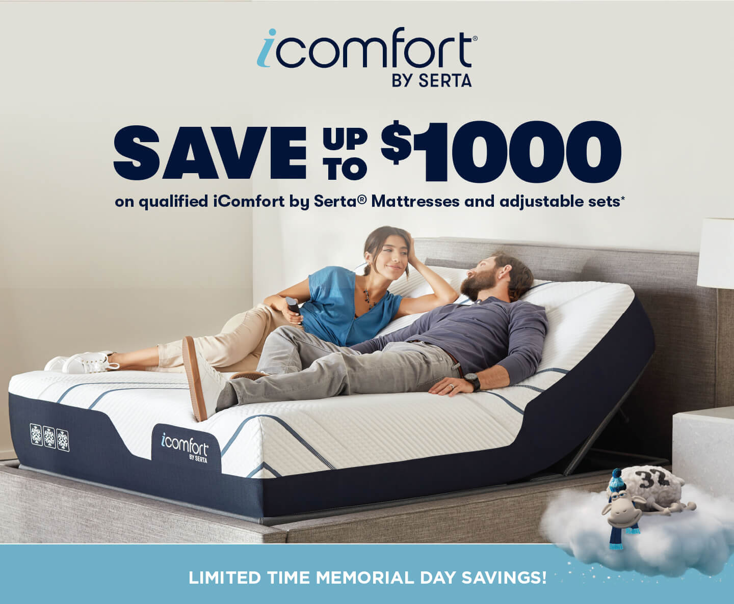 Save up to $1000 on Serta iComfort mattresses and adjustable sets!
